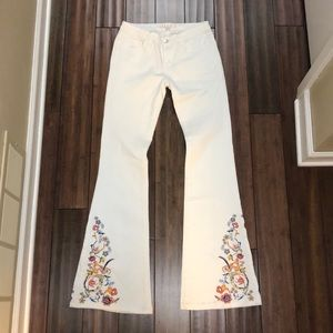 Boston Proper embroidered flared jeans size 4